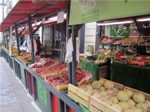 Paris market on Rue Cler